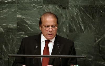 Le Premier ministre du Pakistan, Nawaz Sharif, à l'Assemblée générale des Nations unies à l'ONU à New York, le 30 septembre 2015 (Crédit : AFP/Jewel Samad)