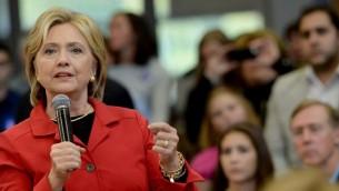 La candidate démocrate à la présidentielle, Hillary Clinton, lors d'un événement au Manchester Community College, le 5 Octobre 2015, à Manchester, New Hampshire. (Crédit : Darren McCollester / Getty Images / AFP)