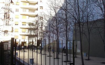 Les arbres de la Plaza qui abrite l'Ambassade d'Israël à Buenos Aires, en Argentine, plantés en mémoire des personnes tuées dans l'attentat de l'ambassade en 1992. (Crédit : NYC2TLV/CC-BY/Wikimedia Commons)