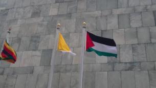 Drapeau de la 'Palestine' hissé aux côtés des 193 autres drapeaux des membres de l'ONU (Crédit : Raphael Ahren/Times of Israel)