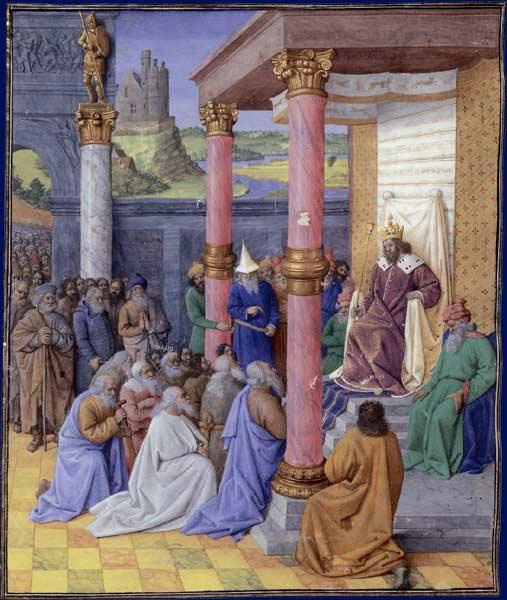 Une peinture du 15ème siècle de Jean Fouquet du roi perse Cyrus II le Grand libérant les Juifs de l'exil babylonien (Crédit : CC-PD-Mark, par Yann, Wikimedia Commons)
