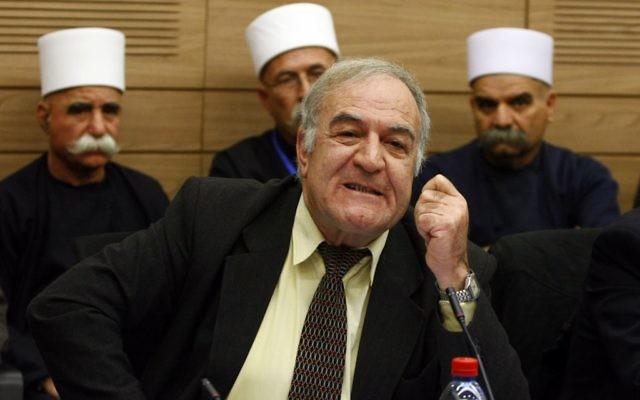 Ancien membre de la Knesset Saïd Nafa assiste à une discussion au Parlement israélien entourant la levée de son immunité politique sur un voyage non autorisé à la Syrie, le 26 janvier 2010 (Crédit : Abir Sultan / Flash90)