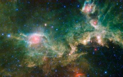 La nébuleuse de la  Mouette, vue grâce à la mosaïque infrarouge de Wide-field Infrared Survey de la NASA Explorer. (Crédit : NASA / Flash90)