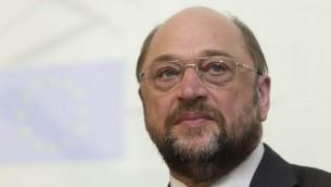 Le président du Parlement européen, Martin Schulz, avant de recevoir un doctorat honorifique de l'université hébraïque, lors d'une cérémonie à Jérusalem, le mardi 11 février 2014. (Crédit : Flash90)