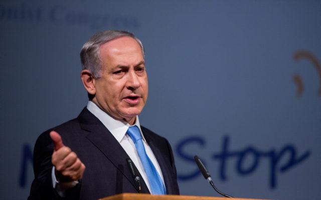 Le Premier ministre Benjamin Netanyahu lors de la conférence du 37ème Congrès sioniste mondial au Convention Center de Jérusalem le 20 octobre 2015 (Crédit phoro : Yonatan Sindel / Flash90)