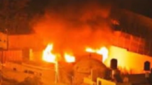 Le Tombeau de Joseph incendié à Naplouse, le 16 octobre 2015. (Crédit : capture d'écran YouTube)