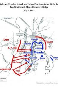 La carte de la bataille de Gettysburg en 'From Gettysburg to Golan. (Crédit : Autorisation de Barry Spielman)
