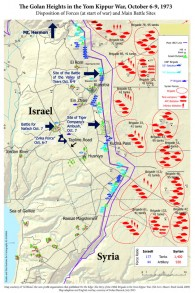Carte de la campagne Golan dans la guerre du Kippour du livre 'From Gettysburg to Golan'. (Crédit : Autorisation de Barry Spielman)
