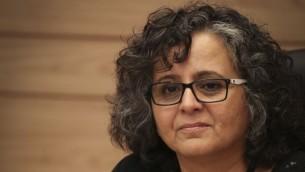 La deputée de la Liste iste arabe unie Aida Touma-Sliman à la Knesset, le 3 juin 2015 (Crédit photo: Hadas Parush / Flash90)