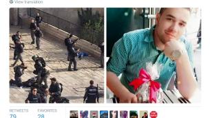 """Un tweet qui dit """"Le shahid (martyr) Muhammad Ali Saed a combattu cet après-midi les policiers de l'armée d'occupation près des portes de la mosquée al-Aqsa occupée avant qu'il ne soit devenu martyr sous les balles des soldats"""""""