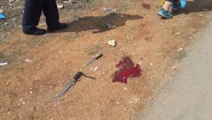 Les armes utilisées dans le'attaque au couteau à Kiryat Arba, près d'Hébron, le 9 octobre 2015 (Photo: police israélienne)
