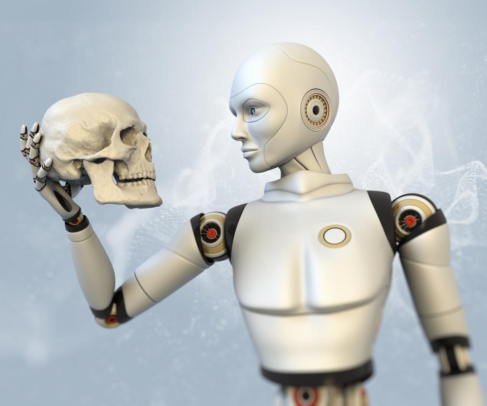 L'image d'un Cyborg tenant le crâne d'un humain (Crédit : via Shutterstock)