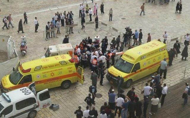 Les ambulances de Magen David Adom et des policiers près de la scène d'une attaque au couteau dans la Vieille Ville de Jérusalem, le mercredi 7 ctobre 2015 (Crédit  : Magen David Adom)