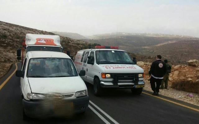 La scène de l'attentat dans le Gush Etzion le dimanche 25 octobre 2015 (Photo: Magen David Adom)