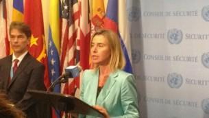 La chef de la politique étrangère de l'UE Federica Mogherini répondant aux journalistes à l'ONU, le 30 septembre 2015 (Photo: Raphael Ahren)