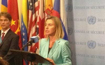 La chef de la politique étrangère de l'UE Federica Mogherini répondant aux journalistes à l'ONU, le 30 septembre 2015.  (Crédit : Raphael Ahren)