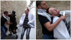 Captures d'écran d'une vidéo sur YouTube faisant la promotion de la terreur en montrant un Palestinien poignardant deux personnages «juifs» dans la Vieille Ville de Jérusalem. Octobre 2015 (Captures d'écran / YouTube)