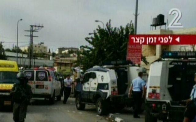La scène d'une attaque au couteau près de Beit Anun dans le sud de la Cisjordanie le 26 octobre 2015 (Crédit : Capture d'écran Deuxième chaîne)