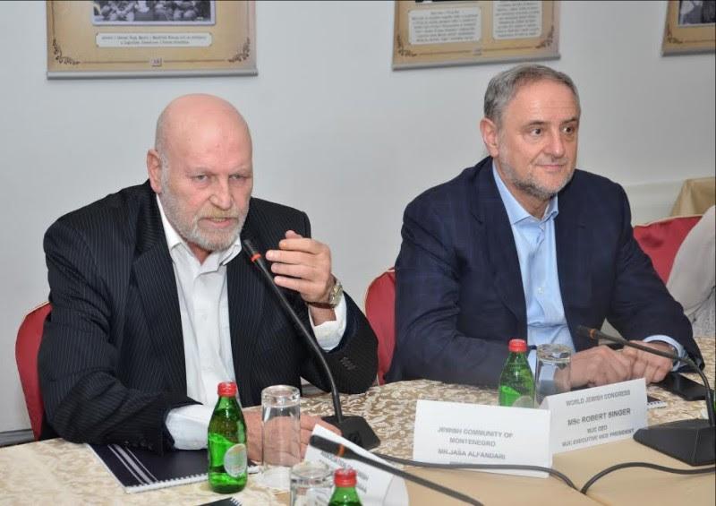 Jasha Alfandari, le président de la communauté juive du Monténégro et Robert Singer (Crédit : Ivana Bozovic)