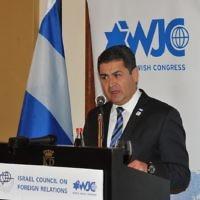 Le président hondurien Juan Orlando Hernández. (Crédit : Congrès juif mondial)