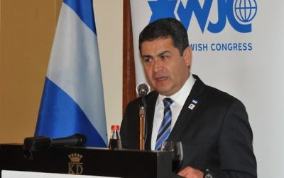 Le président hondurien Juan Orlando Hernandez (Crédit : Congrès juif mondial)
