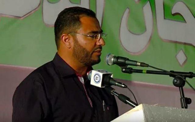 Sheikh Yusef Abu Gammah, un haut responsable de la branche nord du Mouvement islamique en Israël (Crédit : Capture d'écran YouTube)