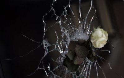 """Une rose est posée dans un impact de balle dans la fenêtre d'un restaurant japonais à côté du café 'La Belle Equipe """", rue de Charonne, le 15 novembre 2015 à Paris, (Crédit : AFP PHOTO / KENZO TRIBOUILLARD)"""