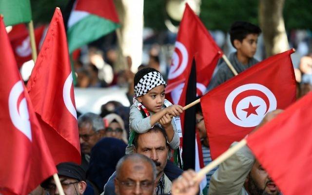 Rassemblement de soutien aux Palestiniens à l'appel d'Ennahda, le 7 novembre 2015 (Crédit : AFP/Fethi Belaid)