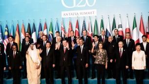 Les dirigeants au sommet du G20, le 15 novembre ,2015 à Antalya. (Crédit : AFP PHOTO / OZAN KOSE)