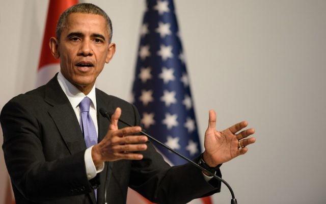Le président américain Barack Obama lors d'une conférence de presse après le sommet du G20 à Antalya le 16 novembre, 2015 (Crédit :  AFP PHOTO / OZAN KOSE)