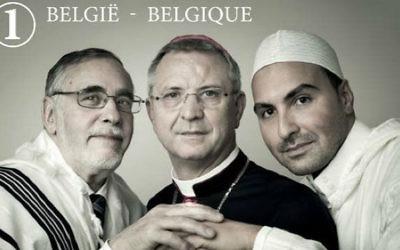 Le rabbin Albert Guigui apparaîtra sur un nouveau timbre belge avec l'imam Khalid Ben Haddou et l'évêque Johan Bonny. (Crédit : Bpost / Lieve Blancquaert)