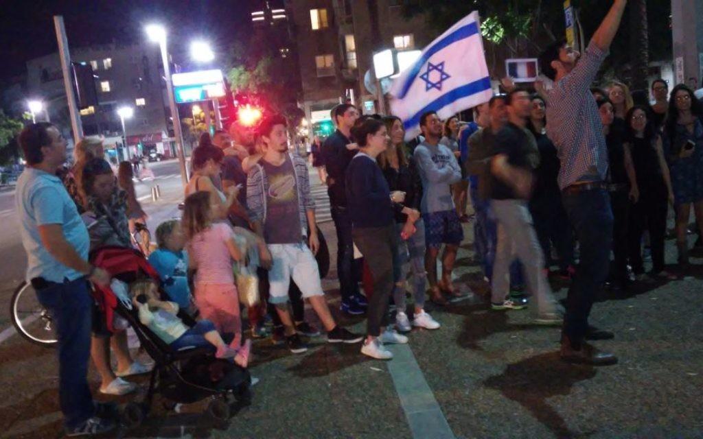 Rassemblement à Tel Aviv en soutien pour Paris, le 14 novembre 2014 (Crédit : Simona Weinglass/Times of Israel))
