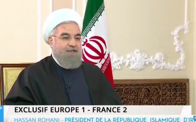 Capture d'écran Hassan Rouhani interviewé par des journalistes français en Iran, le 11 novembre 2015 (Crédit : YouTube)