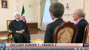 Capture d'écran Hassan Rouhani interviewé par des journalistes français, David Pujadas et Jean-Pierre Elkabach (d) en Iran, le 11 novembre 2015 (Crédit : YouTube)