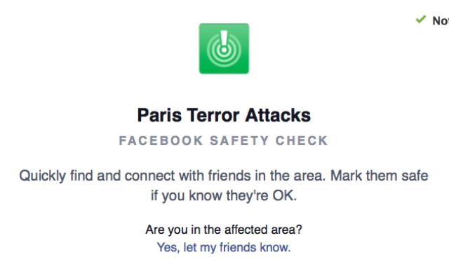 Capture d'écran de la fonction de Facebook Safety check