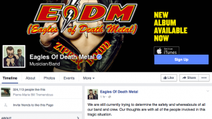 Capture d'écran de la page Facebook du groupe Eagles of Death Metal