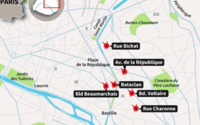 Capture d'écran de la carte de Paris et des attaques simultanées du 13 novembre 2015 (Crédit : AFP/Twitter)