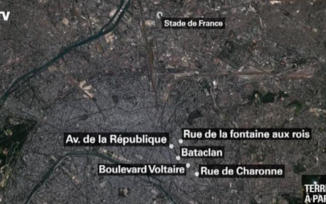 Capture d'écran de la carte de Paris et des attaques simultanées du 13 novembre 2015 (Crédit : BFMTV)