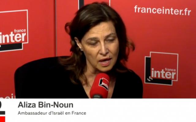 L'ambassadrice d'Israël en France interviewée par Léa Salamé le 12 novembre 2015 (Crédit : Capture d'écran DailyMotion)