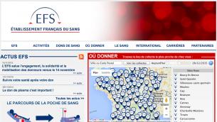 Capture d'écran de la page du site EFS pour donner son sang en France