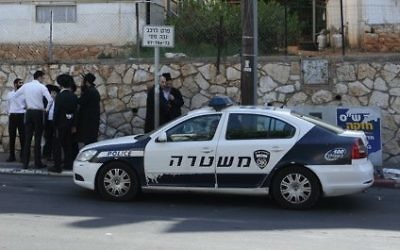 Une voiture de la police israélienne. Illustration. (Crédit : Flash90)