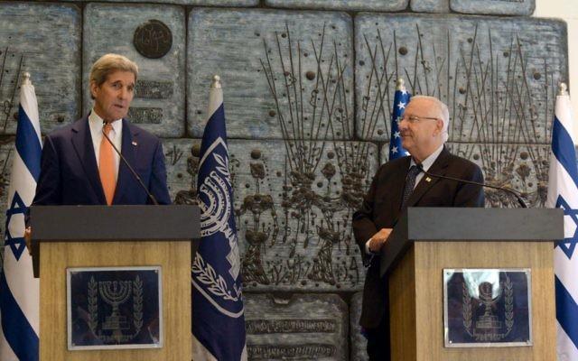 Reuven Rivlin et John Kerry (Crédit : Mark Neyman (GPO))
