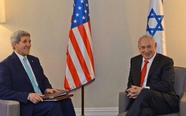 John Kerry et Benjamin Netanyahu à Washington, le 11 novembre 2015 (Crédit : autorisation)