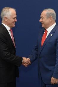 Le Premier ministre Netanyahu and le Premier ministre australien, Turnbull (Crédit : Amos Ben-Gershom, GPO)