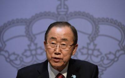 Le secrétaire général de l'ONU Ban Ki-moon parle lors d'une conférence de presse au Palais de Santa Cruz à Madrid le 29 octobre 2015. (AFP Photo / Javier Soriano)