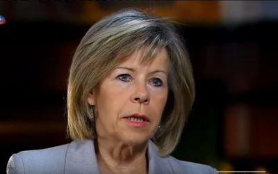 La candidate à la présidence portugaise, Maria de Belem, lors d'une interview datant du 17 octobre 2015  (Crédit : Capture d'écran YouTube)
