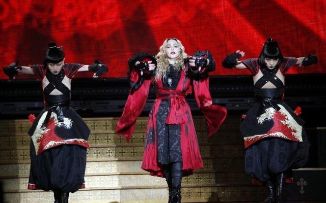 Madonna à Bercy le 9 décembre 2015.  (Crédit : AFP / FRANCOIS GUILLOT)
