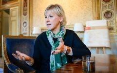 Margot Wallström, ministre suédoise des Affaires étrangères, dans son bureau à Stockholm, le 31 octobre 2014. (Crédit : Jonathan Nackstrand/AFP)