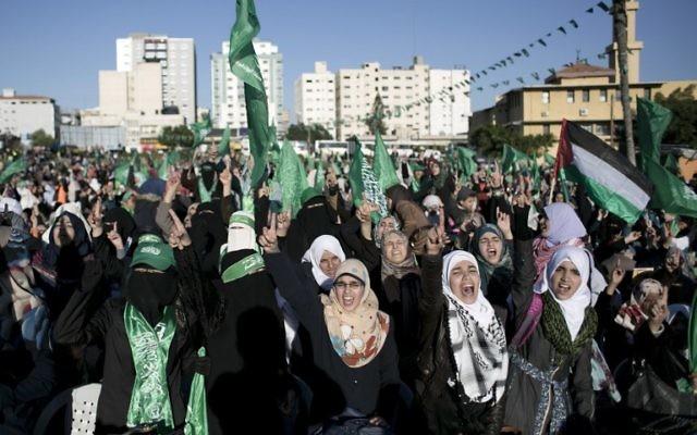 Rassemblement du Hamas dans la bande de Gaza le 6 décembre 2015 (Crédit : AFP / Saïd Khatib)