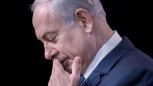 Le Premier ministre Benjamin Netanyahu (Crédit : AFP PHOTO/BRENDAN SMIALOWSKI)